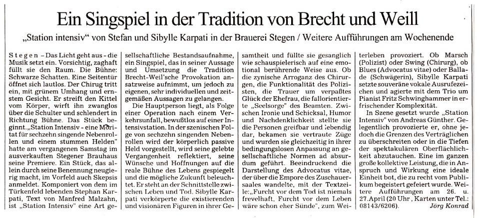 Süddeutsche Zeitung - Mittwoch 23. April 1997 - Kultur