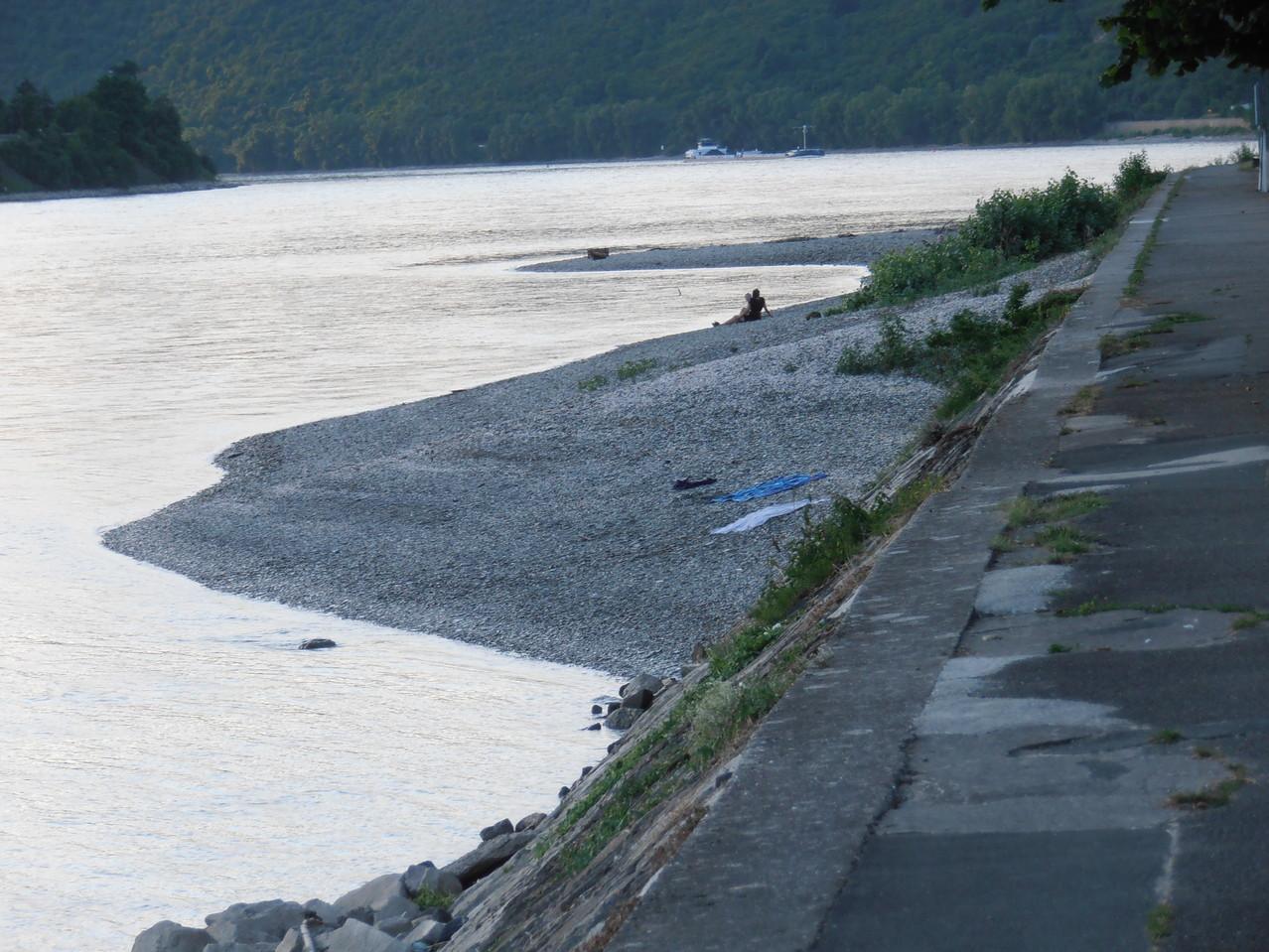 Rückkehr am Rheinufer in Kamp-Bornhofen bei Niedrigwasser
