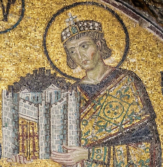 Mozaïek van Constantijn. Foto door Myrabella. Publiek Domein - https://nl.wikipedia.org/wiki/Constantijn_de_Grote#/media/Bestand:Constantine_I_Hagia_Sophia.jpg