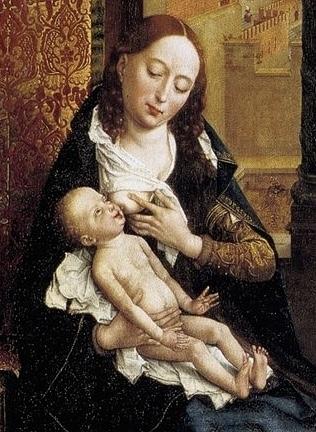 'De Madonna'. Detail uit het schilderij' De Heilige Lucas schildert de Madonna' van Rogier van der Weyden (ca 1440 of 1432-1435).