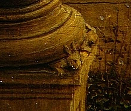 **** Detail hazenkoppen. Uit 'Virgin with Chancellor Rolin' ****  Foto: Katherine Luber. Publiek domein, via  Wikimedia commons.