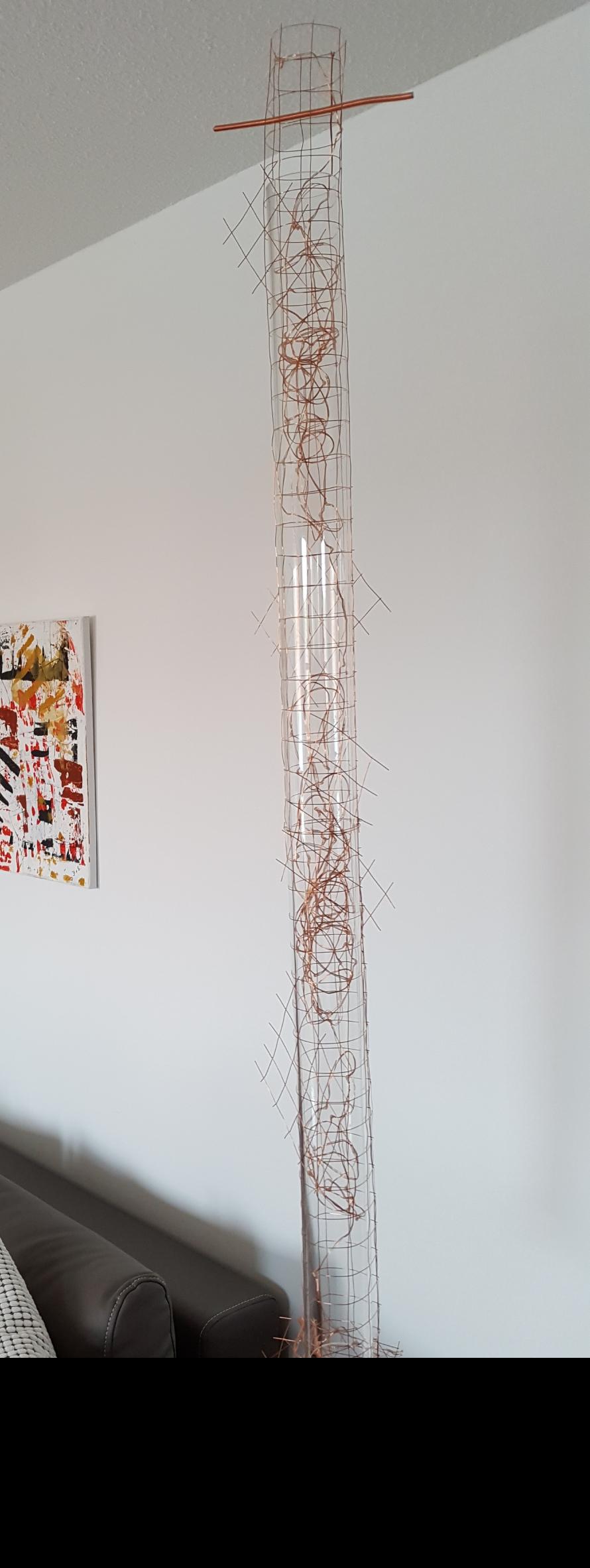 Metallic hang on   Acrylzylinder/ Kupferdraht   115 x 6 x 16  LED