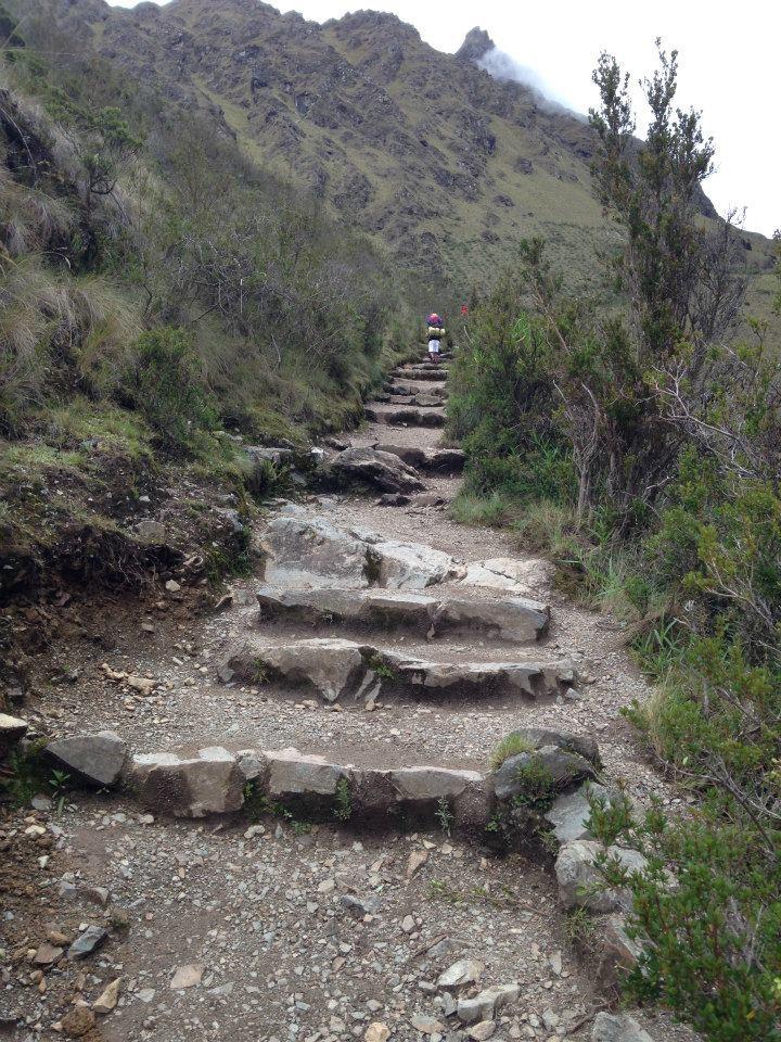 el último tramo de ascenso, los escalones se hacen cada vez mas díficiles de subir