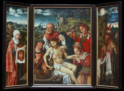 Das Original von Joos van Cleve (oder van Cleef), dem da Vinci des Nordens, für Lyskirchen gemalt, heute im Städelmuseum. In Lyskirchen hängt eine perfekte Kopie der Beweinung Christi.
