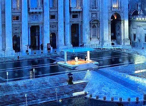 URBI ET ORBI, der Petersplatz am vergangen Freitag (Bildschirmfoto B.M.)
