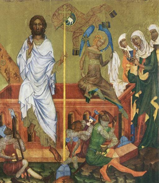 """""""Auferstehung Christi"""", um 1350. Tempera auf Holz, 99,5 × 93 cm. Aus dem Bilderzyklus """"Szenen aus dem Leben Christi"""" aus Kloster Hohenfurth (heute in Prag)"""
