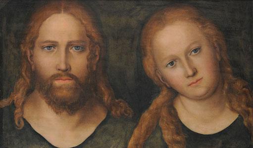 Christus und Maria Magdalena. Gemälde von L. Cranach dem Älteren. Wittenberg um 1515/20.  (Stiftung Schloss Friedenstein).