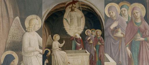 Die Frauen bringen Myrrhe zum Grab, doch der Engel verkündet ihnen, dass Christus auferstanden ist. Diese Szene malte Fra Angelico für die Zelle eines Mitbruders im Kloster San Marco in Florenz.
