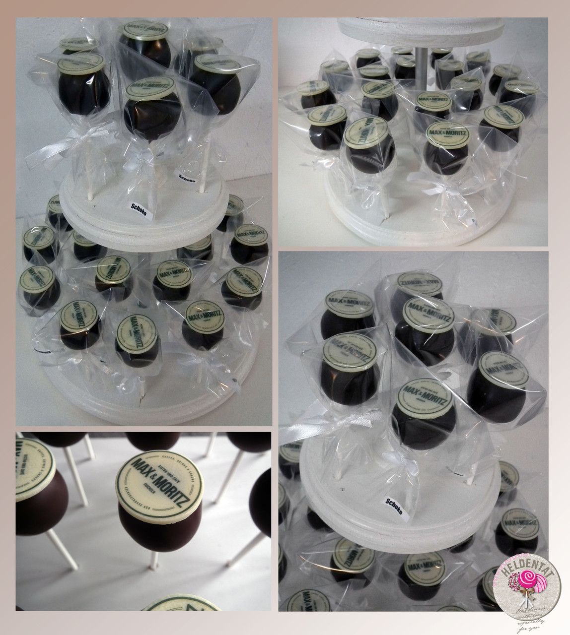 cake pops mit individuell bedrucktem Schokoladenplättchen