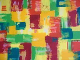Gelbe Vierecke 3  50x65 Acryl auf Papier