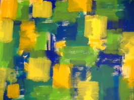 Gelbe Vierecke 2  50x65 Acryl auf Papier