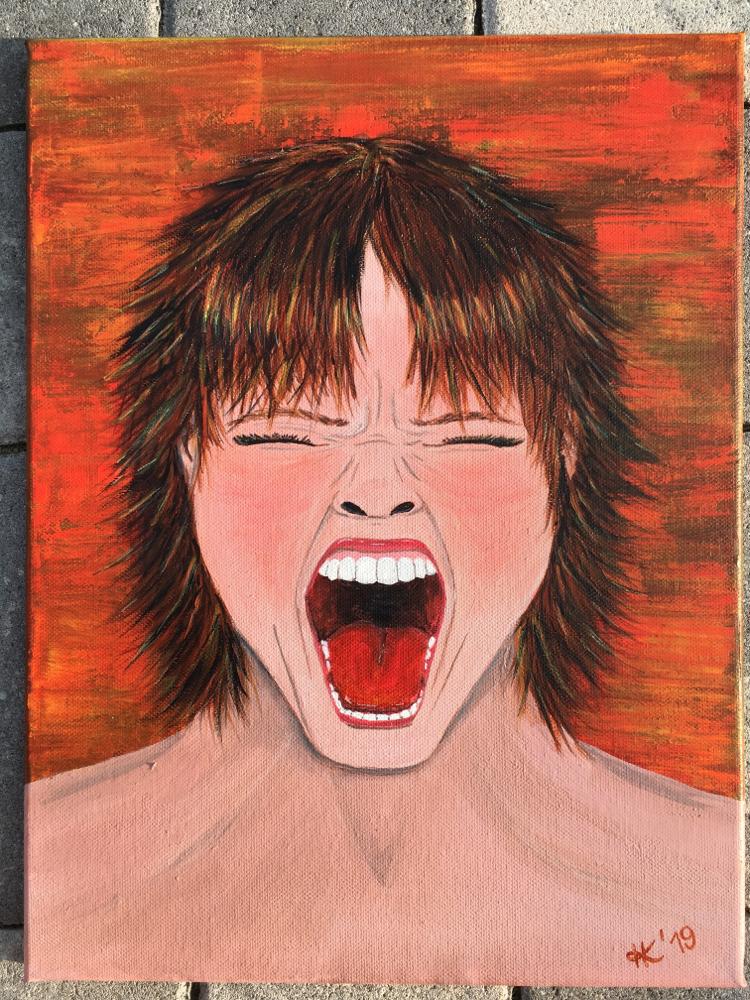 Schrei schreien frau schreiend Leinwand Canvas canvasart acrylpainting cottbus kunst