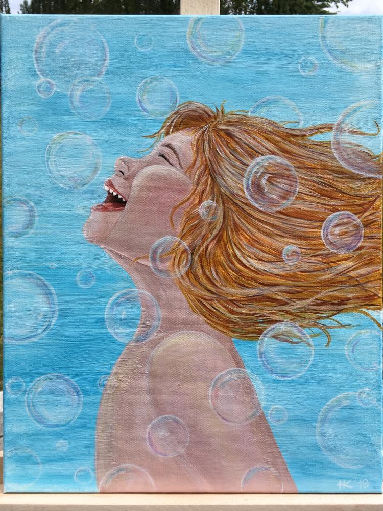 Kind Lachen Seifenblassen bubbles kid Mädchen girl canvas canvasart Malerei cottbus Kunst freude Lebensfreude