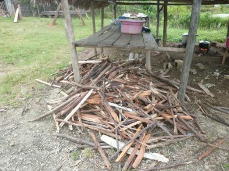rapporter du bois pour cuire le riz de la cantine