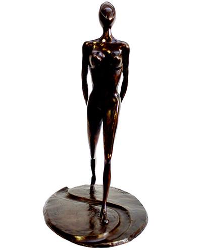 Femme qui marche (1999) bronze, 30x26x16,5 cm (Collection particulière)