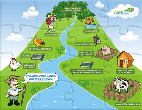 Rompecabezas para la conservación del Río Guadalajara de Buga. Trabajo realizado para Zapote Estudio Creativo