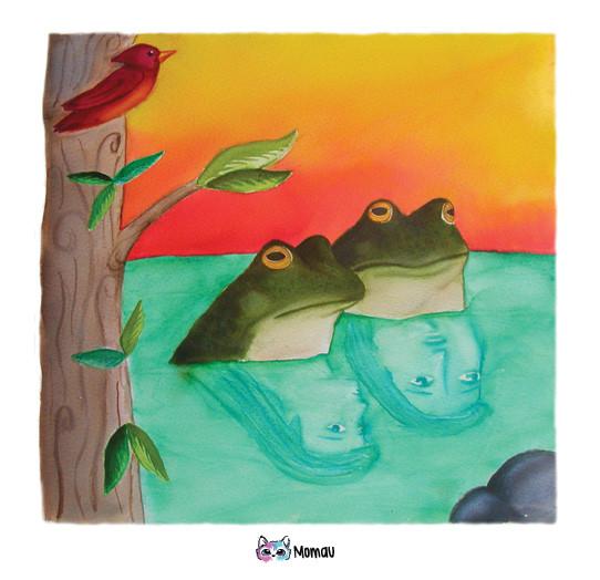 """Ilustración Cuentos Indígenas: """"Por qué las ranas lloran?"""""""