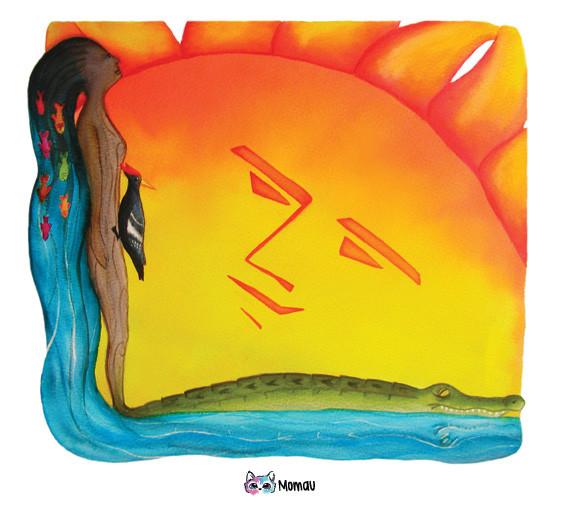 """Ilustración cuentos Indígenas: """"El sol y el Caimán"""""""