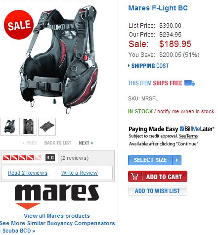 Mares F-Light BC