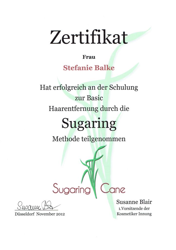 Zertifikat Sugaring