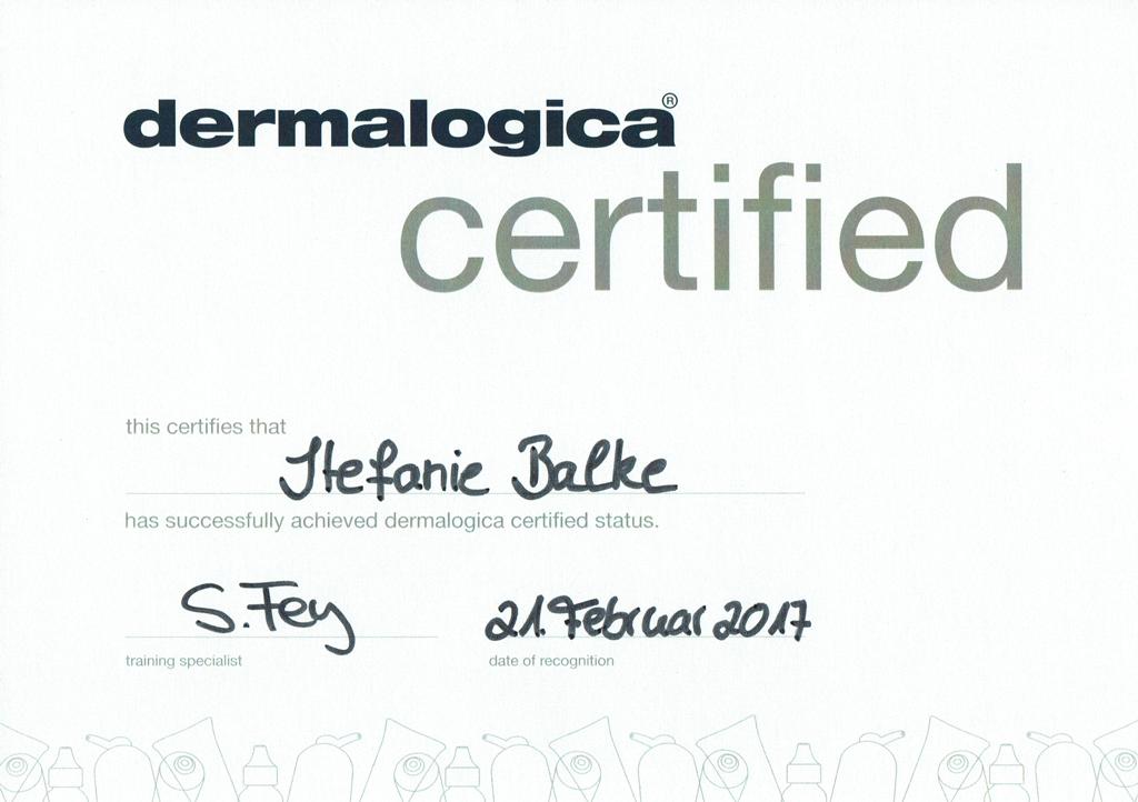 Zertifikat Dermalogica Hautpflegespezialistin
