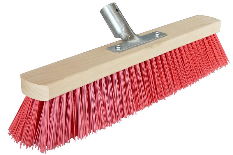 Straßenbesen | Besen mit Stielhalter | Besen für draußen | Outdoor Besen | Besenborsten rot | 60 cm