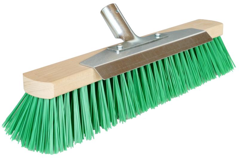 Straßenbesen | Besen mit Stielhalter | Besen für draußen | Outdoor Besen | Besenborsten grün | 40 cm