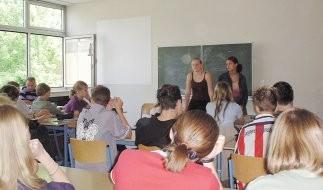 Ende des Schuljahres 2001/2002 erläuterten Kevelaerer Schüler/innen aus den Klassen 9 bis 12 in den 8. Klassen am Gelderner Lise-Meitner-Gymnasium das Projekt. Hier die 8. Klasse von Herrn Mohren (hi. li. am Fenster).