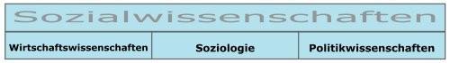 Die drei Teilwissenschaften der Sozialwissenschaften sind: Wirtschaftswissenschaften, Soziologie und Politikwissenschaften