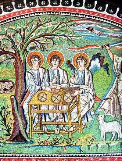 Abraham und die drei Engel (Mosaikausschnitt, 6. Jh.), Basilika San Vitale, Ravenna.