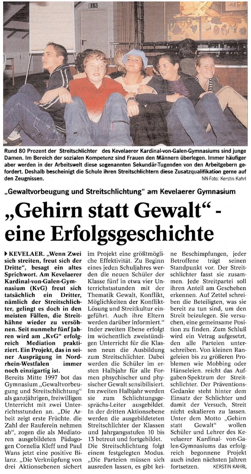 """Niederrhein Nachrichten, 05.06.2002 (""""Gehirn statt Gewalt"""" - Eine Erfolgsgeschichte)"""