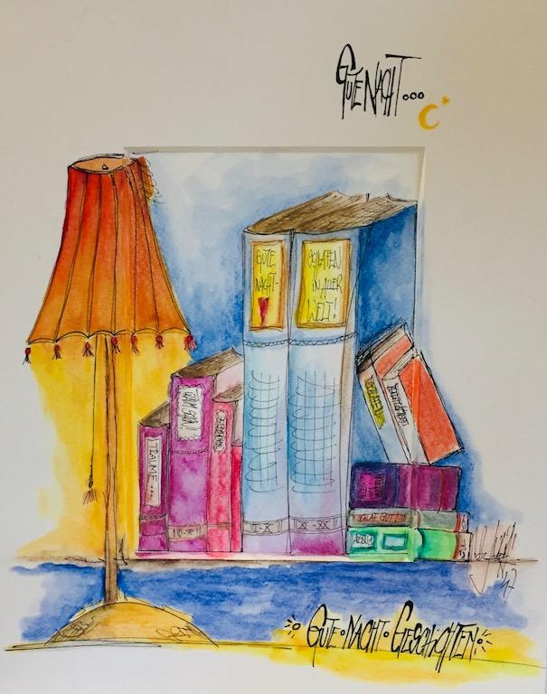 Stifte auf Papier, Bilder, bunte Häuser, Illustrationen