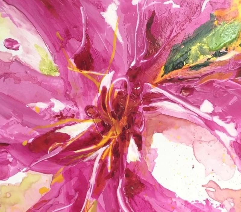 Pinke Blüte, Acryl auf Leinwand, JULIA! Neulinger-Kahl