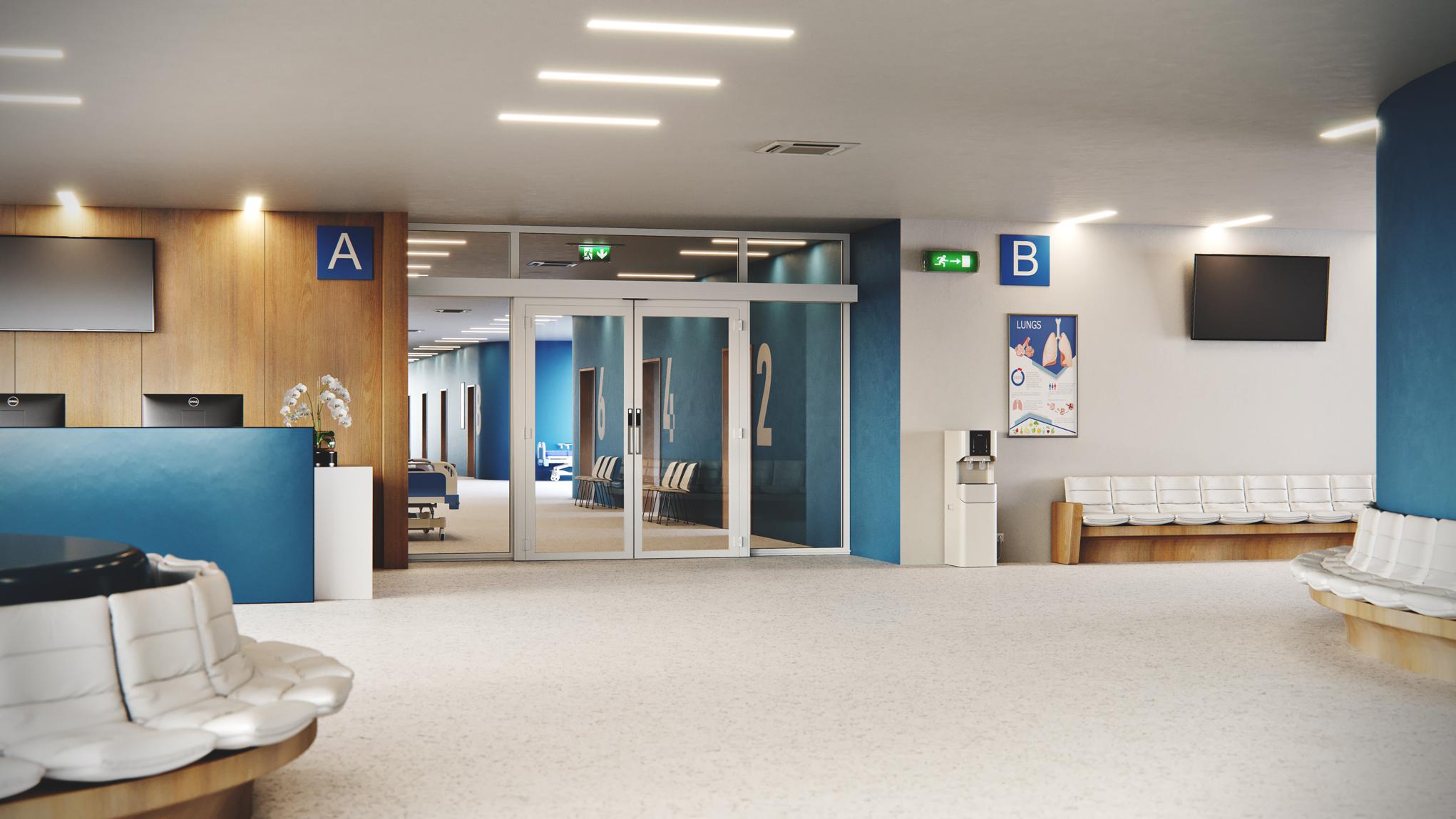 Doorson 500EFS Brandschutzschiebetür mit Fluchweg (ohne Panikbeschlag) -Krankenhaus