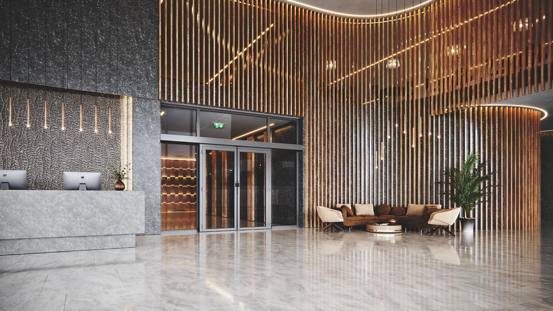 Doorson 500EFS Brandschutzschiebetür mit Fluchweg (ohne Panikbeschlag)- Hotel Lobby