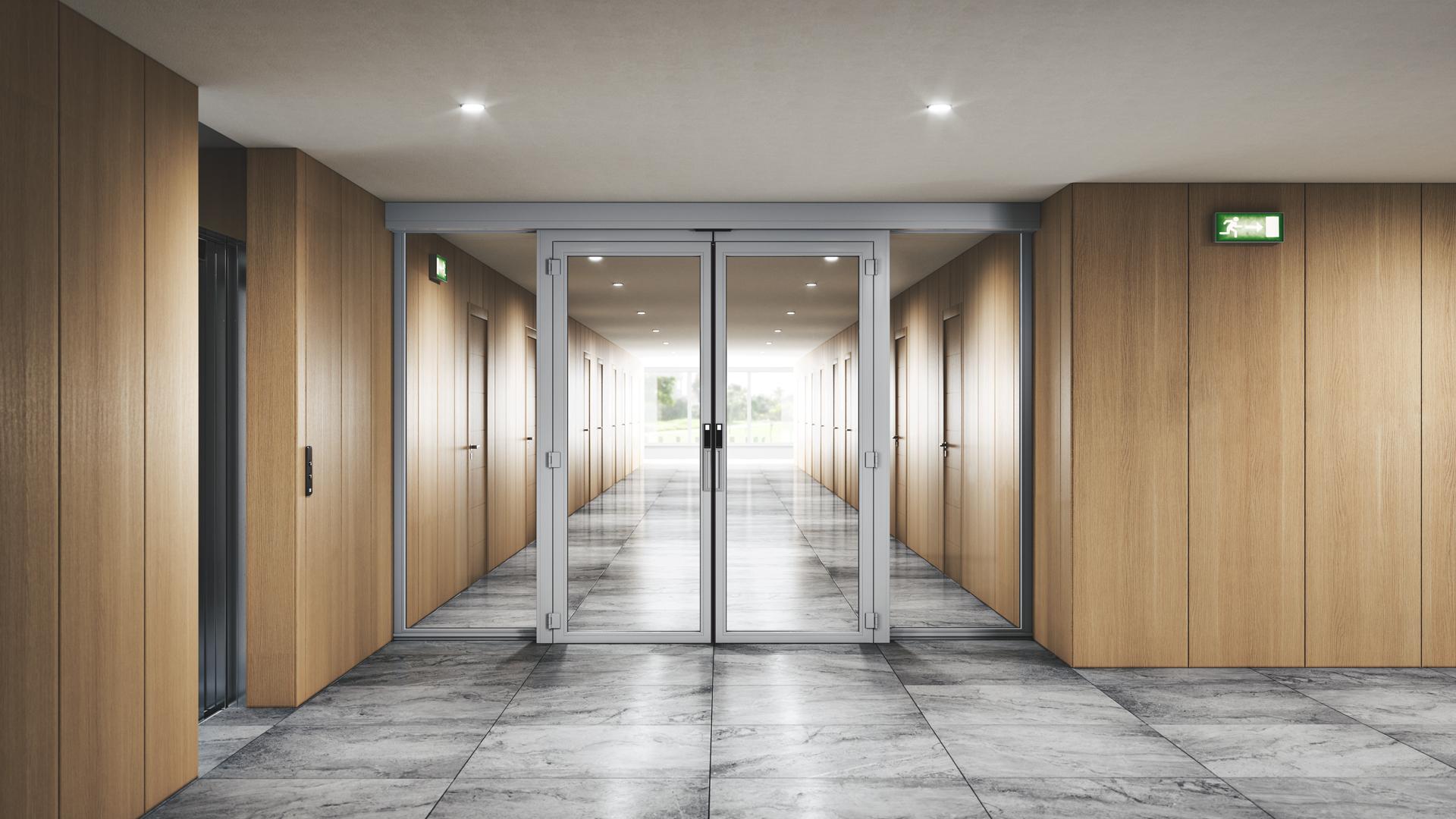 Doorson 500EFS Brandschutzschiebetür mit Fluchweg (ohne Panikbeschlag) - Hotel