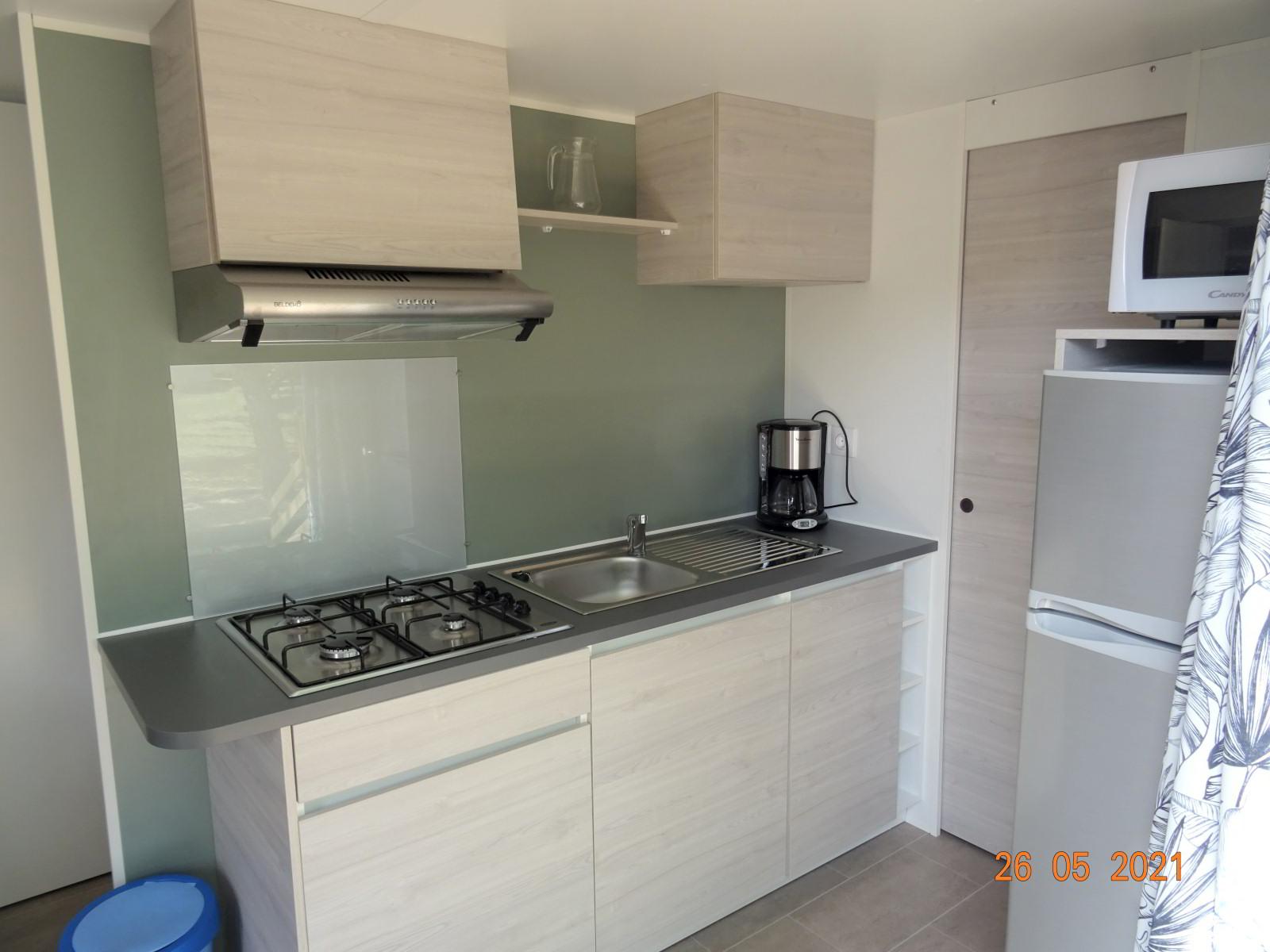 Keuken, nieuwe stacaravan met 2 slaapkamers