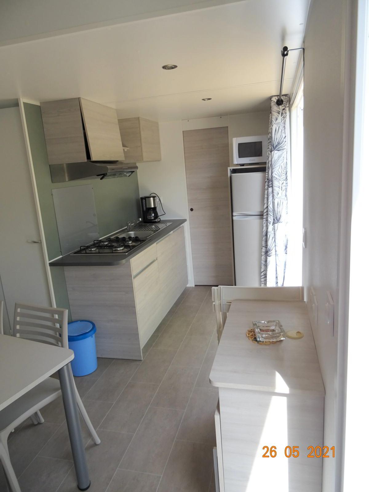 Küchenbereich, neues Mobilheim mit 2 Schlafzimmern