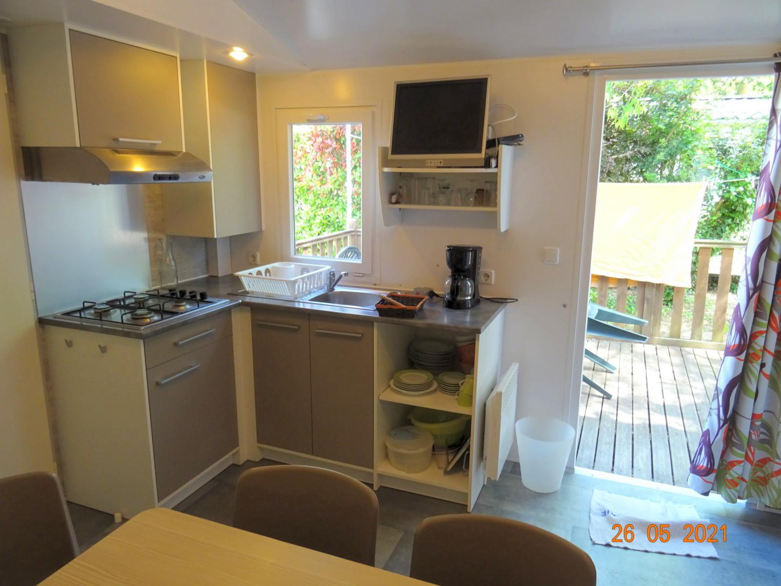 Mobilheim mit 3 Schlafzimmern, ausgestattete Küche