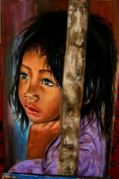 Casu Anna - Bambina vietnamita - acrilico tela - 35 x 47