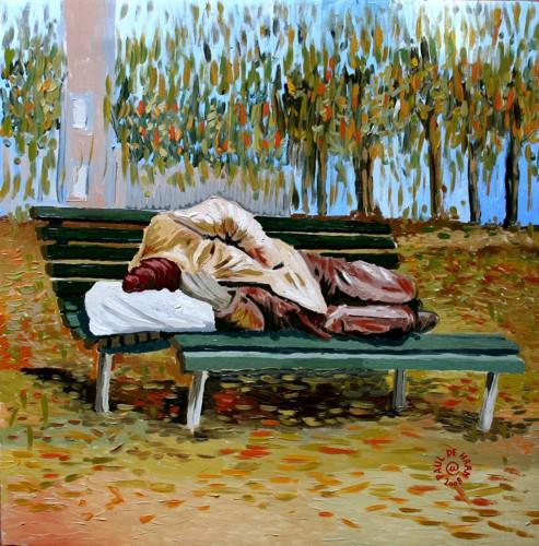Paul De Haan - Panchina - olio su tela - 50 x 50