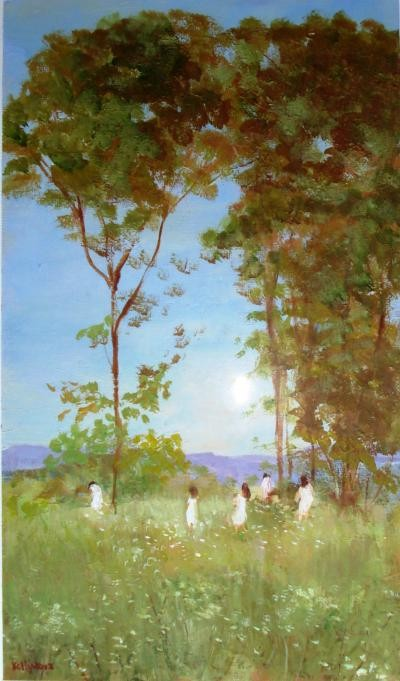 Kelly Terence - Lesbos Figures in Landscape - acrilico tela - 30 x 40