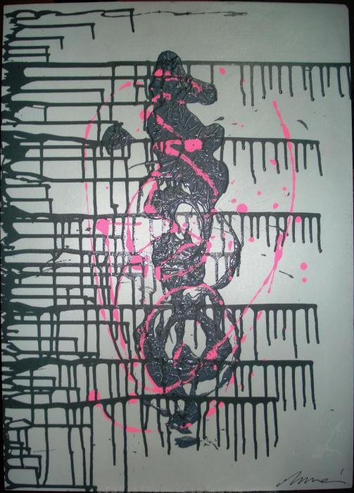 Munari Cinzia - Pink O - smalti legno - 50 x 70