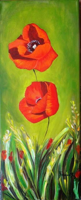 renda francesca - poppies - olio tela - 20 X 50
