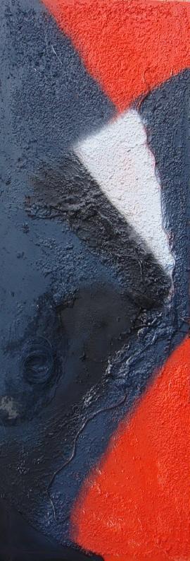 Rachele Mari-Zanoli - Senza nome 67 - tecnica mista su tela - 40 x 120