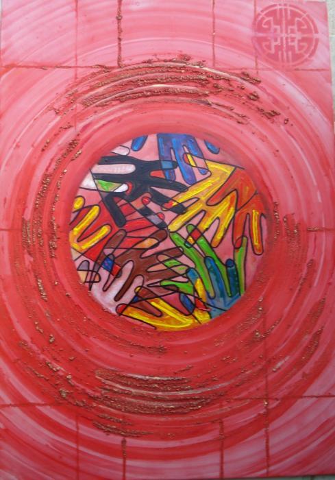 Ait Addi Ahmed – Il cerchio Tecnica mista, Tela, 70x100cm