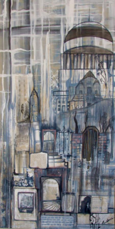 Jessica Russell-Davies – Rain Stained city - acrilico su tela 45 X 90 - 2011