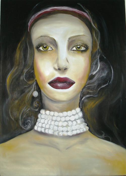 mutti sonia rosaria bambola acrilico su tela  50 X 70