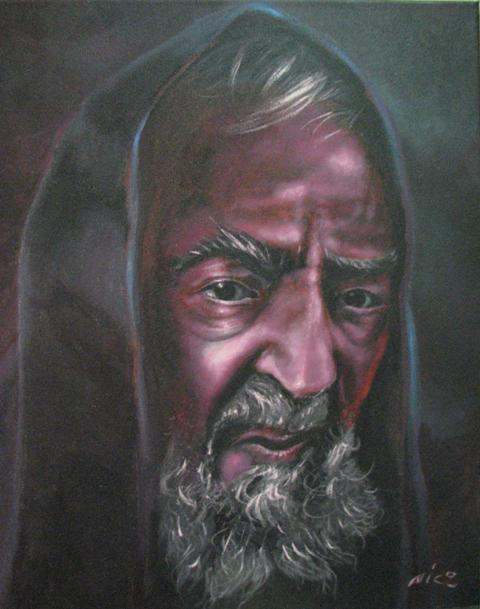 Nicola Carnevale - Padre Pio - acrilico su tela - 30 x 40