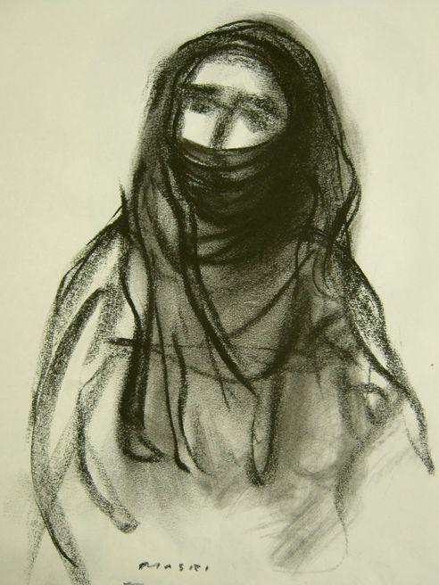 Hayssam Masri - Palestinian woman 1 - grafite su cartoncino
